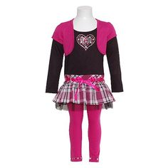 Girls Hot Pink Black Jeweled Heart 2pc Fall Outfit « Clothing Impulse