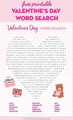 Free Printable Valentine's Day Activity Sheets: Word Search & Maze - Lovely Planner - Free Printable Valentine's Day Word Search Puzzle Activity Sheet. Valentines Day Words, Valentines Day Memes, Valentine Stuff, Printable Day Planner, Valentine's Day Printables, Blog Planner, 2015 Planner, Activity Sheets For Kids, Valentines Day Activities
