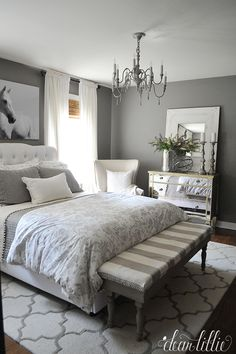 A bright shade of gray can enlighten your feeling whenever you enter your gray bedroom. While the dark tone of gray can make your sleeps peaceful. We have 30 gray bedroom ideas that . Read Elegant Gray Bedroom Ideas 2020 (For Calming Bedroom) Bedroom Colors, Bedroom Ideas, Bedroom Neutral, Design Bedroom, Bedroom Inspiration, Bath Design, Color Inspiration, Suites, Trendy Bedroom