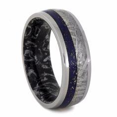 Lapis Lazuli Ring With Mokume Sleeve.