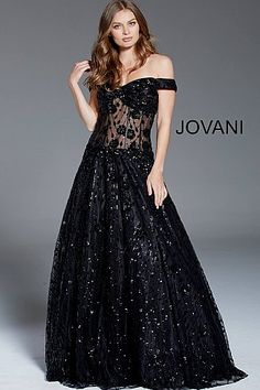 8810e59efb7 Black Sequin Embellished Off the Shoulder Evening Gown 60814  CorsetDress   LaceupGown  Jovani