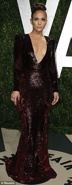 Enviable figure: The glitzy gown highlighted Lopez's killer curves