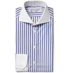 Turnbull & Asser Contrast-Collar Striped Slim-Fit Cotton Shirt