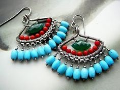 Iconic Wire Work Jewelry by Cleopatra Kerckhof   Egypt-inspired wirework earrings - chalcedony, coral and turquoise  Beautiful!