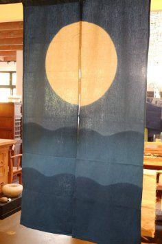 Elegant Japanese Noren, AA1, Ocean And Moon, Linen Door Way Curtain