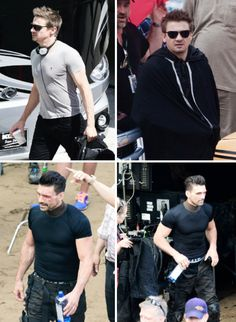 "Jeremy Renner and Frank Grillo on the set of ""Captain America: Civil War"""