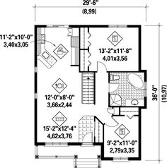 Stone Cottage House Plan - floor plan - revamp bath, replace tub with washer and dryer, take out stairs. 2 Bedroom House Plans, Cottage Style House Plans, Small House Plans, Cottage Homes, Two Bedroom, Master Bedroom, Timy House Plans, House Floor Plans, 3d House Drawing