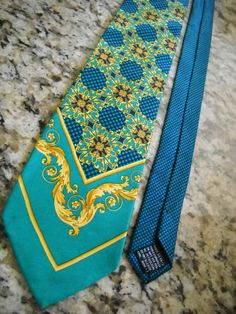 $99.50 Gianni Versace 100% Silk Vintage Bright Geen Aqua Blue Gold Made in Italy Tie | eBay
