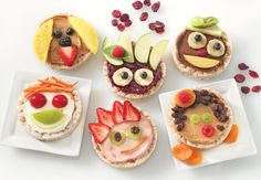 Fun rice cake sandwiches encourage kids to see fruits and veggies in a more positive light.