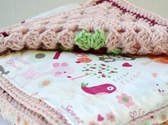 Pink deer baby blanket crochet baby blanket by ValkinThreads2