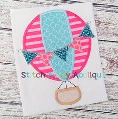Hot Air Balloon Spring Summer Machine por StitchAwayApplique