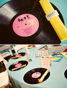 Love the record place mat idea. I am sure I could find records somewhere like goodwill. I like the old record player too. Balloons add a nice touch.