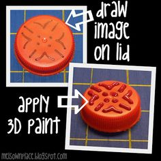 Made stamps from liquid 3D paint with a lid from a water bottle, milk jug or soda liter - It's real easy! - Great for making your own letterboxing stamp, too   Mel's Own Place