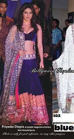 Priyanka Chopra Lehenga 76USD Order here - http://rajasthanispecial.com/index.php/womens-collection/bollywood-saree/priyanka-chopra-navy-blue-lehenga.html