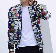Geometric bomber jacket for men plus size