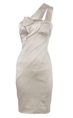 Designer Signature Stretch Satin Dress Ivory. dressesstar.com