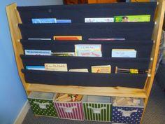 >>USING THIS IDEA<<  This DIY sling bookshelf will work perfectly to hold the paper books for students.  The frame is being made for me, but I have to make the slings and purchase/make the boxes.