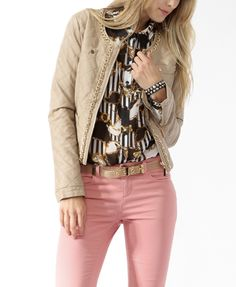 Quilted pleather jacket with golf chain trim- forever 21