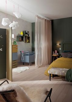 "Voilage ""Lol Inspire"" en polyester et coton, H 260 cm, euros, Leroy Merlin. Boys Bedroom Decor, Baby Bedroom, Girls Bedroom, Nursery Room, Master Bedroom, Small Apartments, Small Spaces, Design Room, Interior Design"