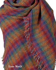 "Multicolor Linen Shawl 51""x51"" FREE SHIPPING - 100% Linen Wrap Shawl - Pure Linen Shawl - Linen Wrap - Natural Linen Scarf - Birthday Gift"