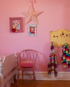 Girl's Bedroom idea - Meg Duerksen @ Whatever--love the toddler bed piece repurposed as a coat rack