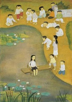 Painting on Silk by Vietnamese Artist Mai Trung Thu (1906-1980)