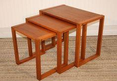 Mid Century Danish Modern Vi-Ma Mobler 3 Stack Teak Nesting Tables eames era | eBay. Love 'em. They'd work anywhere.
