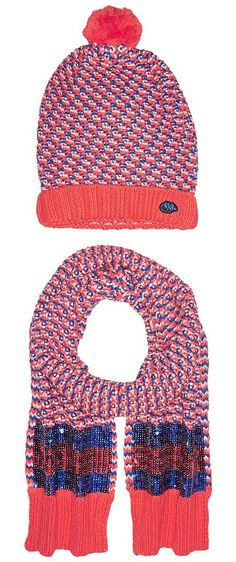 Little Marc Jacobs Set of Knitted Hat and Scarf with Sequined Stripes (Red/Blue) Scarves - Little Marc Jacobs, Set of Knitted Hat and Scarf with Sequined Stripes, W18016-X78, Accessories Scarves General, Scarves, Scarves, Accessories, Gift - Outfit Ideas And Street Style 2017