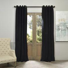 Shop for Exclusive Fabrics Warm Black Grommet Velvet Blackout Curtain Panel. Get…