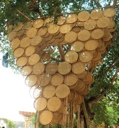 budipradono architects bamboo tree house indonesia #WoodLovers Today's #WoodStuff:  How to reuse a tampah as a decorative wall? Indonesian culture is in this #treehouse by Budi Pradono Architects > http://bit.ly/1qfiR8I  Vía designboom