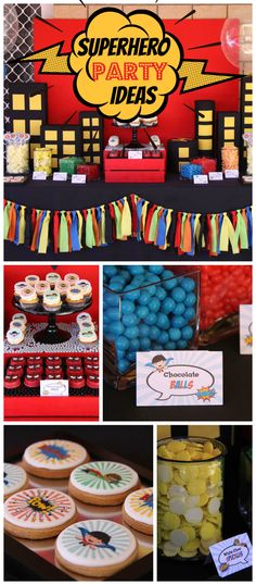 A superhero boy birthday party with a 3D city scape, plus cool cupcakes and cookies!  See more party planning ideas at CatchMyParty.com!