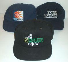 eb9c2d08feef Vintage CBS TV Hats Cap Lot The Sports Show This Morning US Open Tennis EYE  Logo
