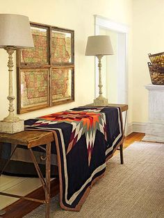 Look to old family heirlooms like quilts to accessorize a space.