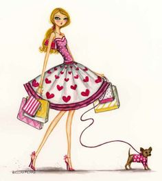 Bella Pilar  fashion illustration - hearts