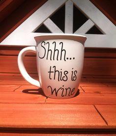 Wine Coffee Mug Large Coffee Mug Funny by JustABrushAndPaint, $9.00