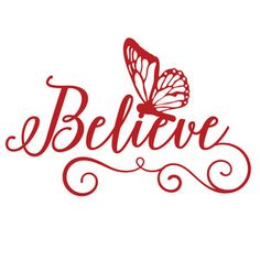Silhouette Design Store - View Design #112135: believe butterfly word