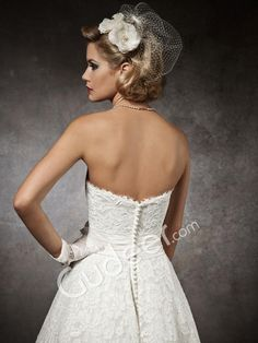Strapless Tea-length Lace Wedding Dress with Low Zipper Back