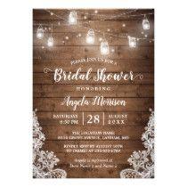 (New Font) Mason Jars Lights Rustic Bridal Shower Card