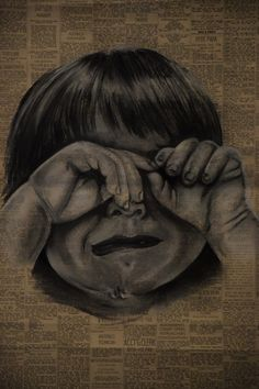 AP® Studio Art Digital Submission - Concentration Sami R. charcoal on old newspaper