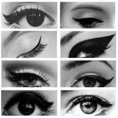 Sleek winged eyeliner variations
