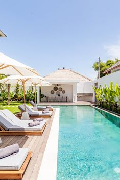 Villa JOJU- THE PERFECT FAMILY VILLA | Bali Interiors Backyard Pool Landscaping, Backyard Pool Designs, Small Backyard Pools, Small Pools, Swimming Pools Backyard, Swimming Pool Designs, Landscaping Ideas, Lap Pools, Indoor Pools