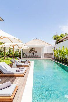 Villa JOJU- THE PERFECT FAMILY VILLA | Bali Interiors Backyard Pool Landscaping, Backyard Pool Designs, Small Backyard Pools, Small Pools, Swimming Pools Backyard, Swimming Pool Designs, Small Pool Houses, Modern Pool House, Landscaping Ideas