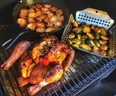 """104 Likes, 10 Comments - Julie Madden (@girl_meets_grill) on Instagram: """"Good eats!! Smoke Roasted Herb Butter Chicken, Parmesan Garlic Crusted Baby Reds and Mesquite…"""""""