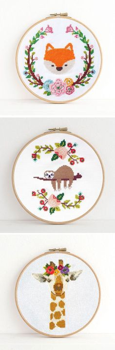 Adorable animal cross stitch patterns by Dear Sukie #crossstitch #moderncrossstitch #xstitch
