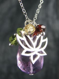 """Yoga Jewelry, """"Amy's"""" Lotus Charm Necklace, Chakra Jewelry"""