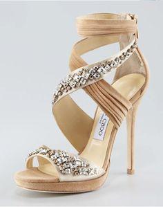 High Heels : Kani Crisscross Platform Sandal by Jimmy Choo at Neiman Marcus. Pretty Shoes, Beautiful Shoes, Cute Shoes, Me Too Shoes, Jimmy Choo, Bridal Shoes, Wedding Shoes, Bridal Footwear, Wedding Bride