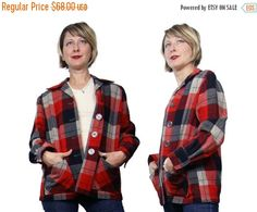 ON SALE 1950s Wool Plaid 49er Style Jacket by NobleVintageClothier