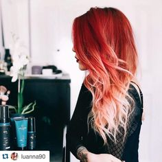"""#Repost @luanna90 ・・・ Forever into fire hair and keeping it vibrant with the new @ritahazan #truecolorcollection #weeklyremedy #triplethreat I got at…"""