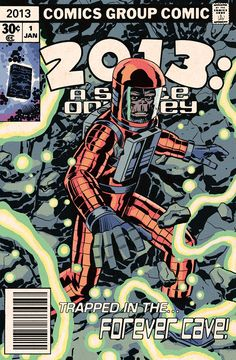 "Happy New Year! Here's a faux comic cover by Edmund Bagwell aping (pun intended!) the style of Jack Kirby and his ""2001"" A Space Odyssey."""