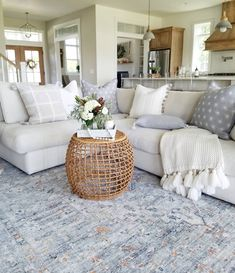 64 living room inspiration & ideas for a sectional couch 9 Living Room Grey, Living Room Furniture, Living Room Next To Kitchen, Living Room Pottery Barn, Long Living Rooms, Living Room Ideas With Grey Couch, Living Room With Carpet, Living Room With Sectional, Cream Living Room Decor